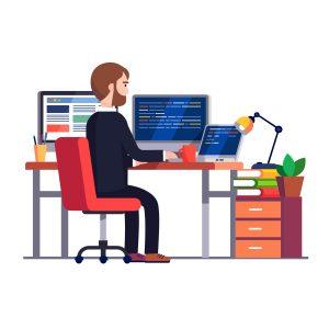 Persona trabajando con varias pantallas