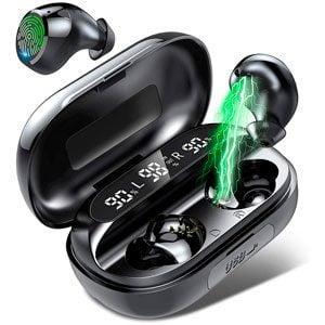 Auriculares Inalámbricos Bluetooth Tikland Deportivos Sonido Estéreo 3D 3500 mAh Caja de Carga 150H Playtime IP7 Impermeable