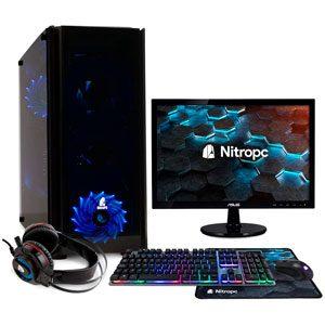 PC Gaming Torre NITROPC Pack Bronze con Monitor 19 Teclado Ratón y Auriculares (Ryzen 3400G 48 Gráfica Vega 11 2GB RAM 16GB M.2 512GB HDD 1TB)