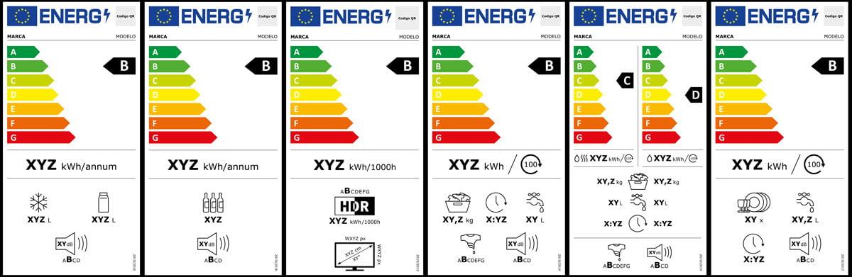 Algunas de las nuevas Etiquetas Energéticas