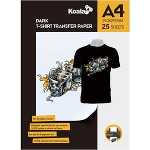 Papel de Transferencia Térmica A4 KOALA Tejidos oscuros 25 hojas Inyección de Tinta