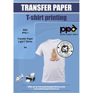 Papel de Transferencia Térmica A4 PPD Tejidos Blancos o Claros 20 Hojas Inyección de Tinta