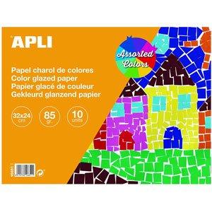 Bloc papel charol colores surtidos 32 x 24 cm 10 hojas APLI 16651