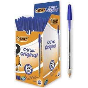 Bolígrafos BIC Cristal Azul Caja de 50 Bolis Punta Media (1,0mm)