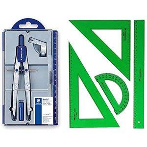 Pack Compás Staedtler 550 y Conjunto de Escuadra Cartabón Regla y Semicírculo Color Verde