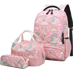 Pack Mochila Escolar Unicornio Infantil con Bolsa del Almuerzo y Estuche de Lápices Rosa