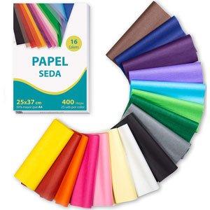 Papel de seda 16 colores 400 hojas 25 x 37 cm