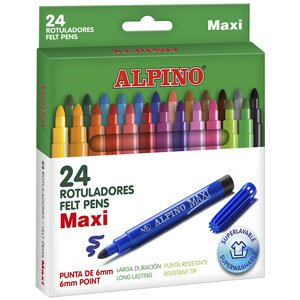 Rotuladores Alpino Maxi Estuche de 24 colores con Punta Gruesa de 6mm y tinta lavable